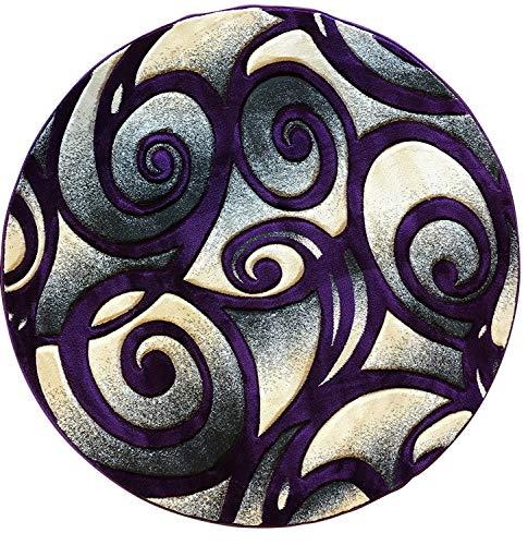 Contempo Modern Round Contemporary 400,000 Point Abstract Area Rug Purple Grey Black & Gray Design 341 (4 Feet X 4 Feet)