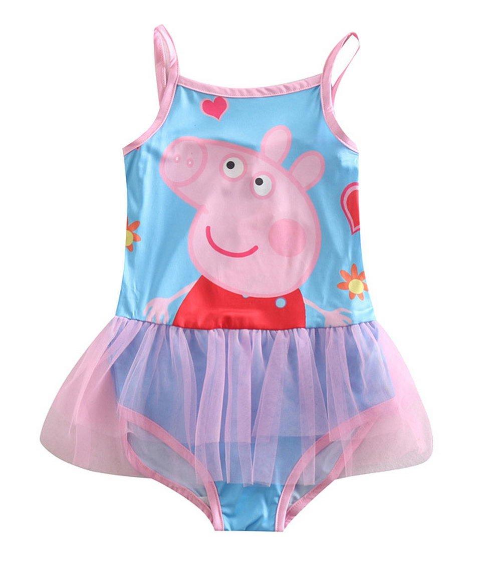 Peppa Pig Little Girls Cartoon Printing Milk Silk Swimsuits 2-8Y Tiful