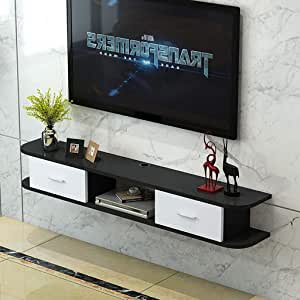 Estante de TV flotante Consola de TV montada en la pared Gabinete de TV Set Top Box Estante Router Gabinete de almacenamiento Soportes de TV para sala de estar Soporte de TV