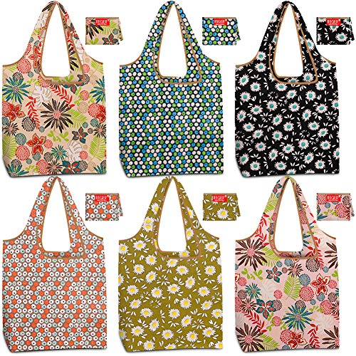 Reusable Grocery Shopping Bags Bulk Foldable Groceries Totes Bags Washable Nylon Fabric Cloth Durable Light Weight 50…