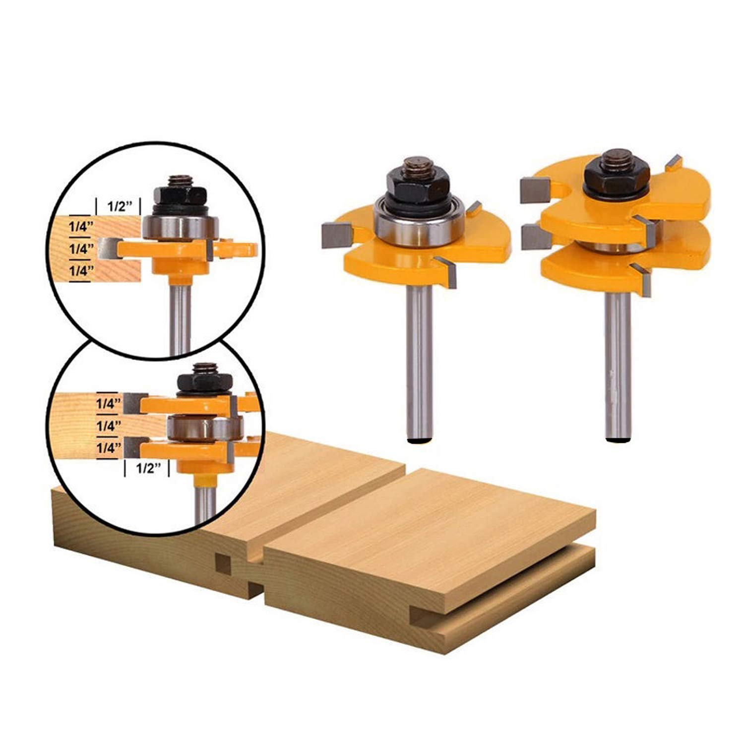 LoveDeal 1/4 Inch Shank Tongue and Groove Router Bit Set, 3 Teeth T Shape Molding Wood Milling Cutter, Adjustable Wood Door Flooring Woodworking Tool, for Kitchen, Bathroom, Cabinet(2 PCS) by LoveDeal (Image #1)