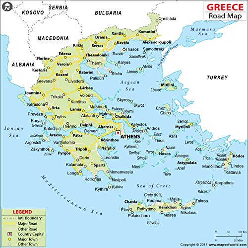 Amazoncom Greece Highway Map Laminated 36 W x 3597 H