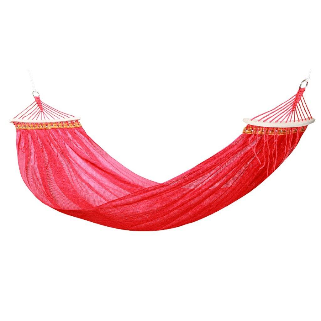 Yxsd Outdoor Hängematte, Camping Net Yarn atmungsaktive tragbare Freizeit Single Hängematte (Farbe   Rot)