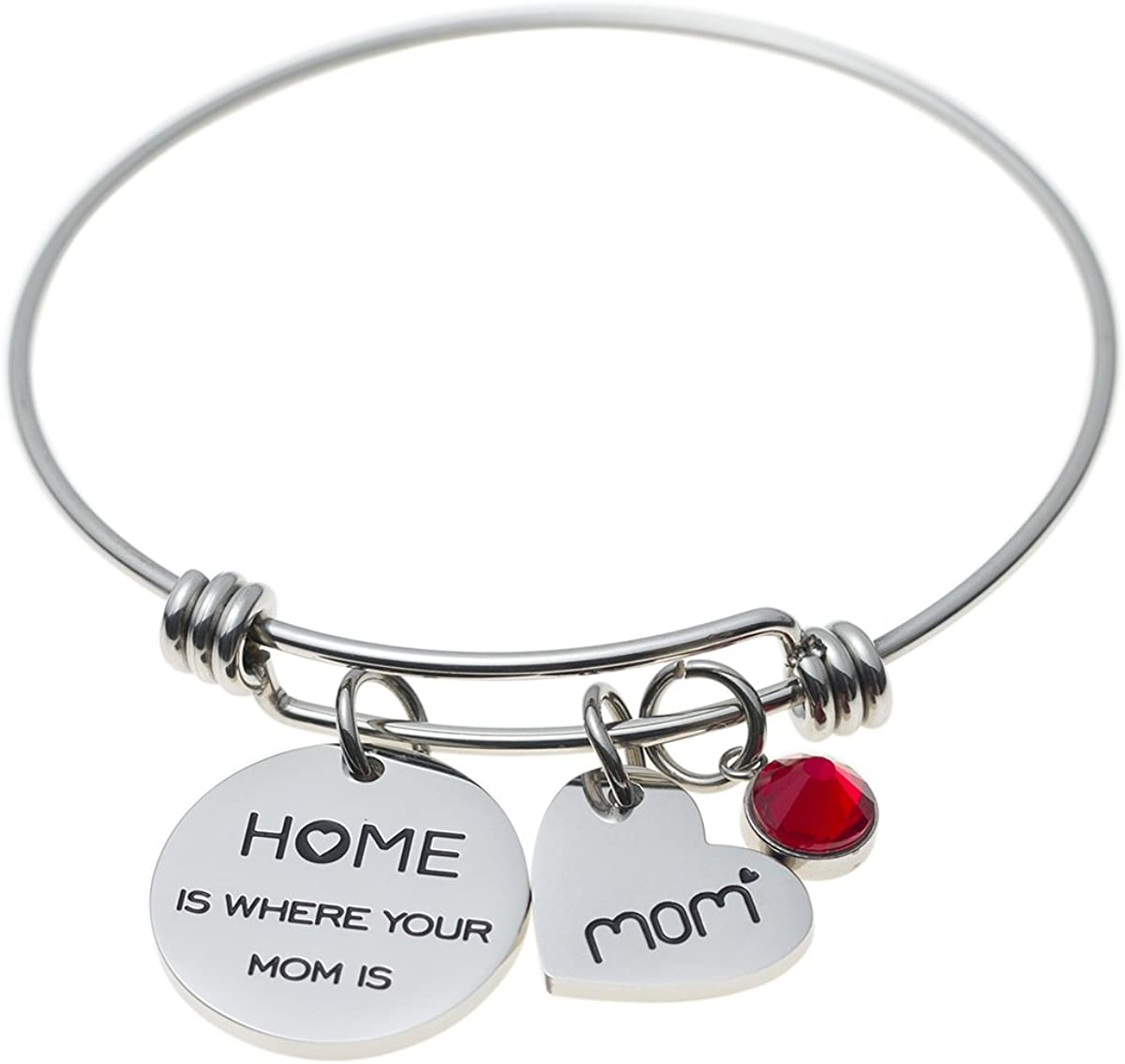 Jewelady Mothers Gift Message Charm Bracelet Stainless Steel Expandable Wire Bangle for Mom
