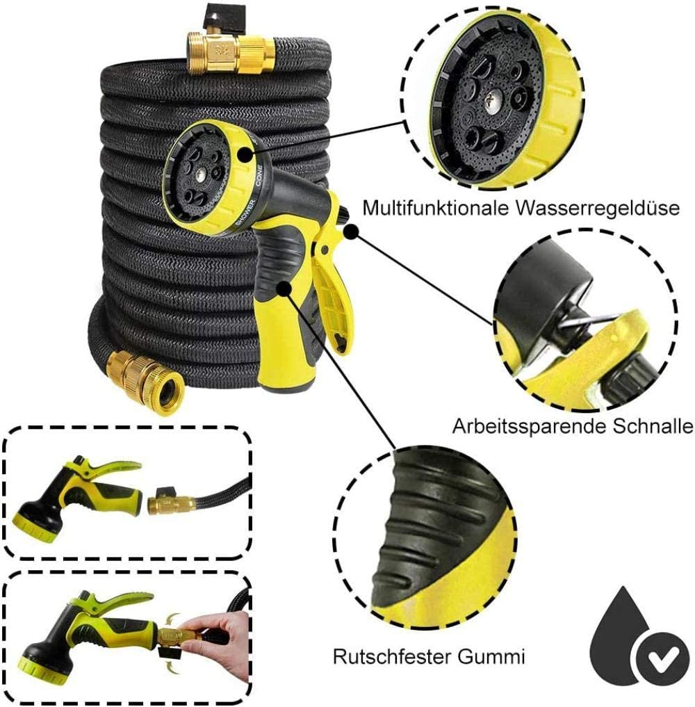WXG garden hose 22.5m flexible hose expandable water hose shower nozzle with 9 functions for garden irrigation and cleaning, 22.5m, black + green 22,5m, Schwarz