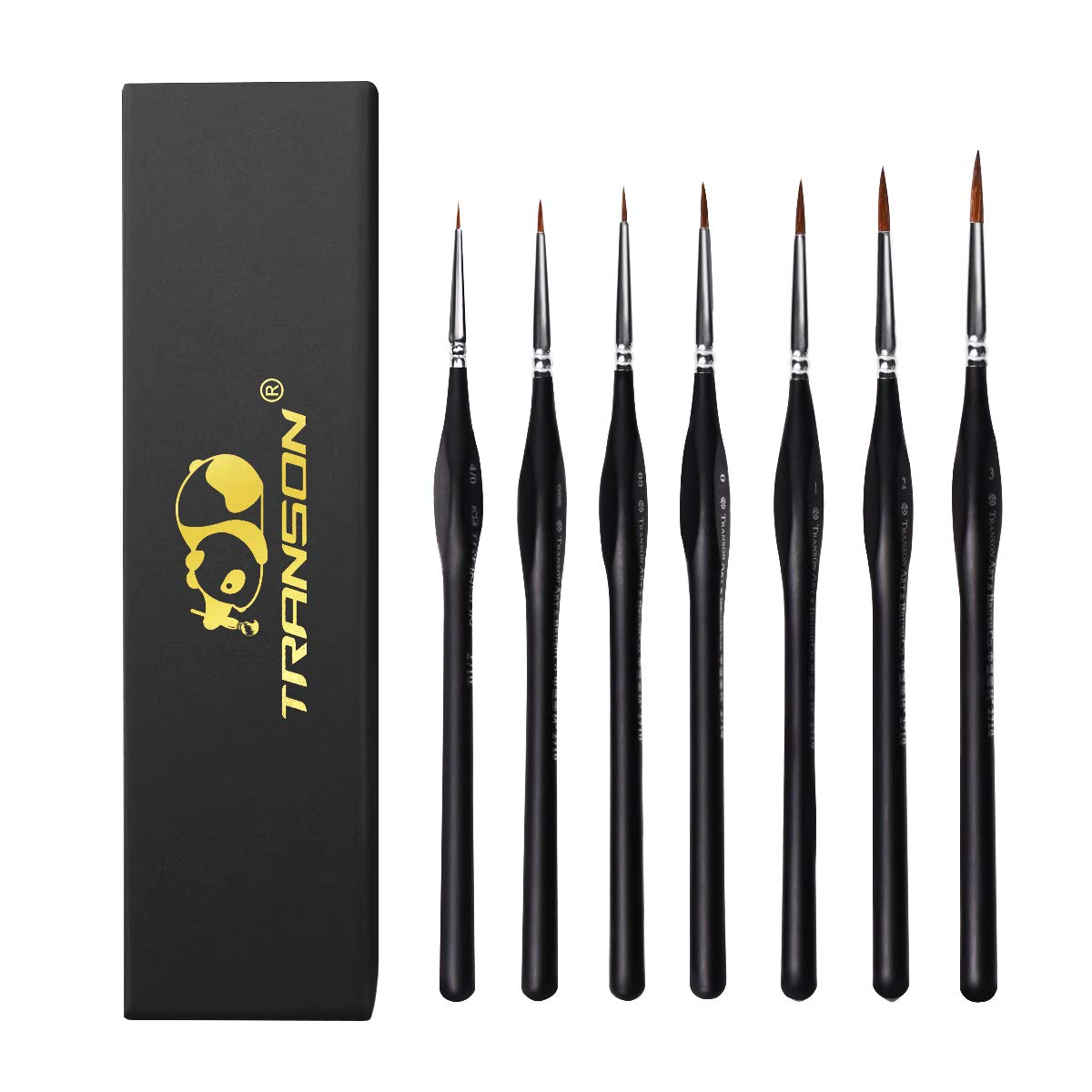 Transon Detail Paint Brush Set 7 Sizes Weasel Hair with Triangular Handle for Miniatures, Acrylic, Gouache, Watercolor, Oil, Models by Transon