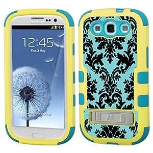One Tough Shield ? Hybrid 3-Layer Kick-Stand Case (Yellow/Teal) for Samsung Galaxy S-III S3 - (Victorian Blue/Black) wangjiang maoyi