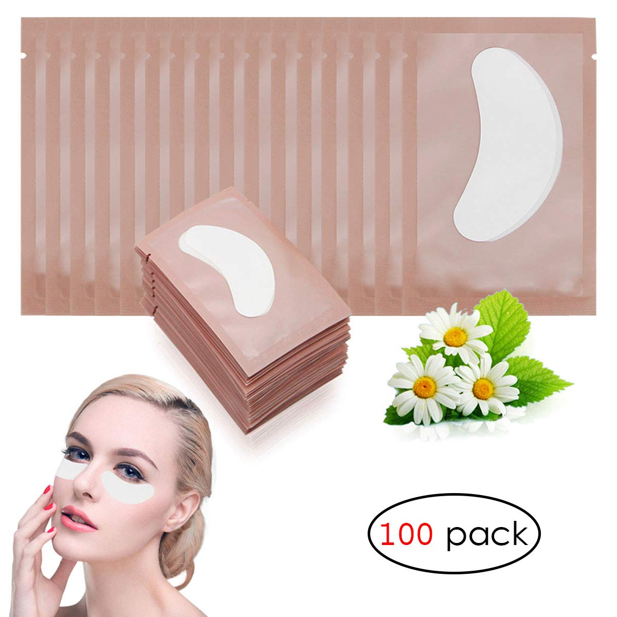 Adecco LLC 100 Pairs Under Eye Pads Lint Free Lash Extension Eye Gel Patches for DIY False Eyelash Extension Makeup,Eye Mask Beauty Tool