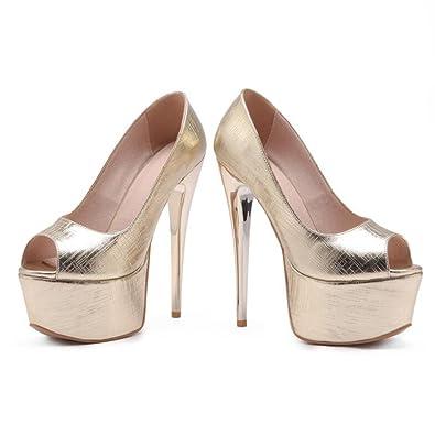 Sandales Bout Ouvert PU Supérieur Féminin Talons Hauts Mince Talons Chaussures De Bouche De Poisson (Couleur : Silver, Taille : EU39/UK6.5/CN40)