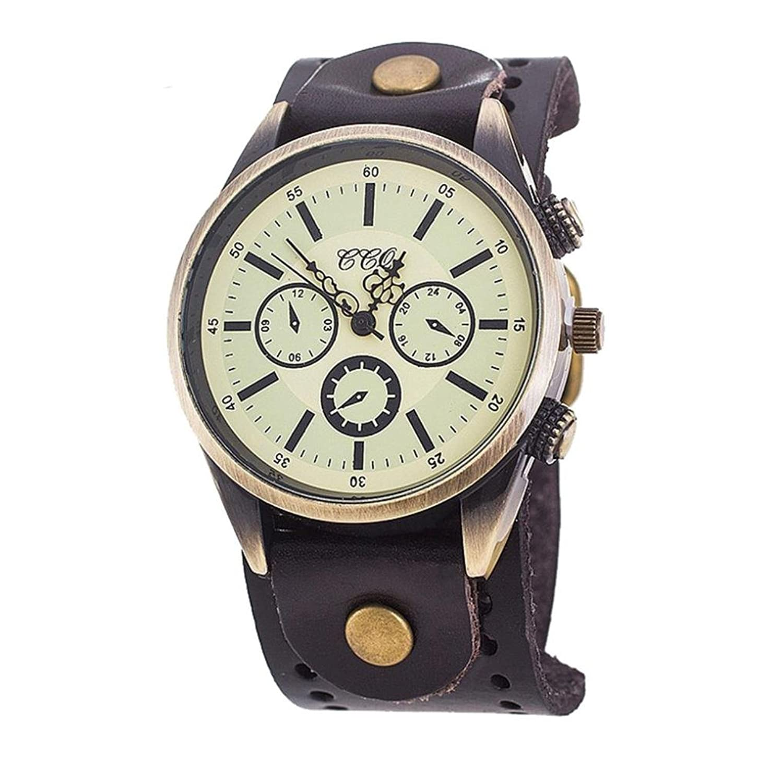 メンズレトロ時計、Sinmaファッションカジュアル腕時計クォーツアナログ3ダイヤルラウンドWrist Watchesブレスレット ベージュ B072DW6DMQ ホワイト
