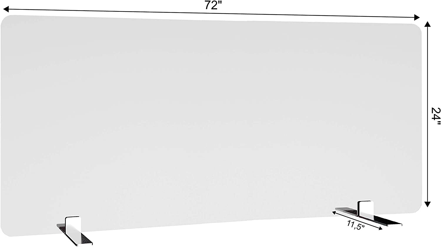 """Free-Standing Acrylic Protective Guard for Countertops w/Medium 11.5 inches Flat Legs, Office Desk Partition Panels, Protective Barriers for Workspaces (72"""" x 24"""")"""