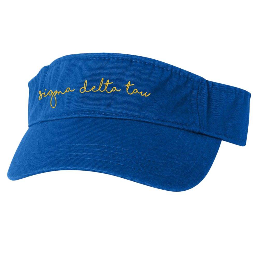 Sigma Delta Tau Script Color Visor Royal Blue w/Light Gold Thread Color