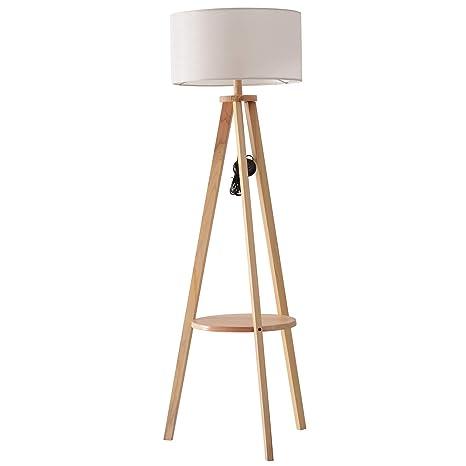 HOMCOM Lámpara de Pie Moderna para Dormitorio Estudio Salón con Luces E27 40W y Pulsador de Pie con Base Trípode Inoxidable 154cm