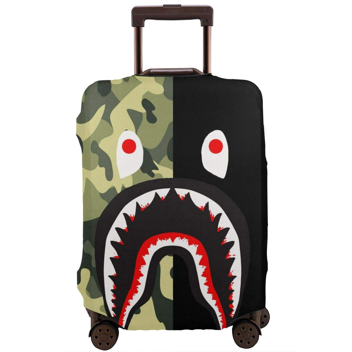 Travel Luggage Cover Suitcase Protector Fits 18-32 Inch Luggage Bape Blood Shark Half Green Camo