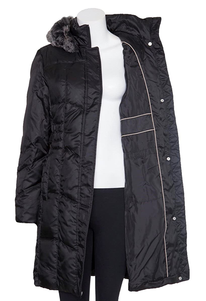 cd2f3d66e Utex Women's Quilted Down Filled - Faux Fur Trim Hooded Coat - Black ...