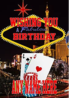 Nevada Las Vegas Gambling Mia3 Happy Birthday A5 Personalised Greeting Card POSTED BY US GIFTS FOR ALL