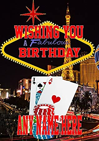 Nevada Las Vegas Gambling Mia3 Happy Birthday A5 Personalised Greeting Card POSTED BY US GIFTS FOR
