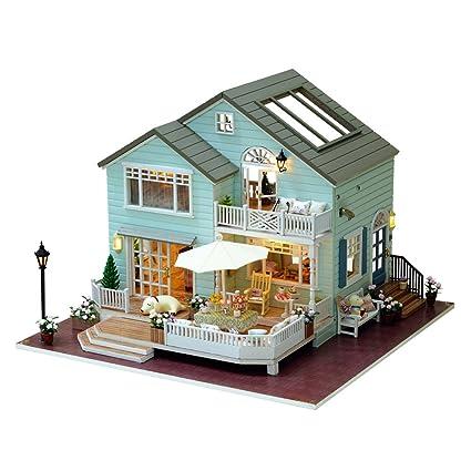Kit de muebles de madera en miniatura DIY Dollhouse Mini casa verde con el regalo de la música Cumpleaños de San Valentín - Queens Town