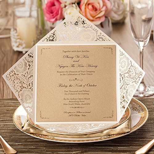 Wishmade 100X Square Laser Cut Wedding Invitations Kit With White Envelope and Envelope Seals Card Stock For Engagement Bridal Shower Birthday Baby Shower Party CW520_WH by Wishmade (Image #2)