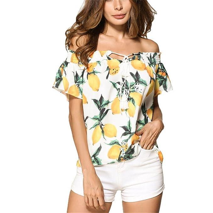 Mujeres de Moda Tops Summer Ladies Casual Off Blusas de Hombro Imprimir Lace Up Slash Cuello de Manga Corta Blusa: Amazon.es: Ropa y accesorios
