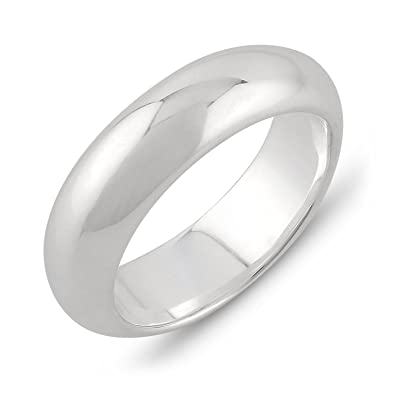 Amazon Com 6mm Band Width Plain 925 Sterling Silver Wedding Band