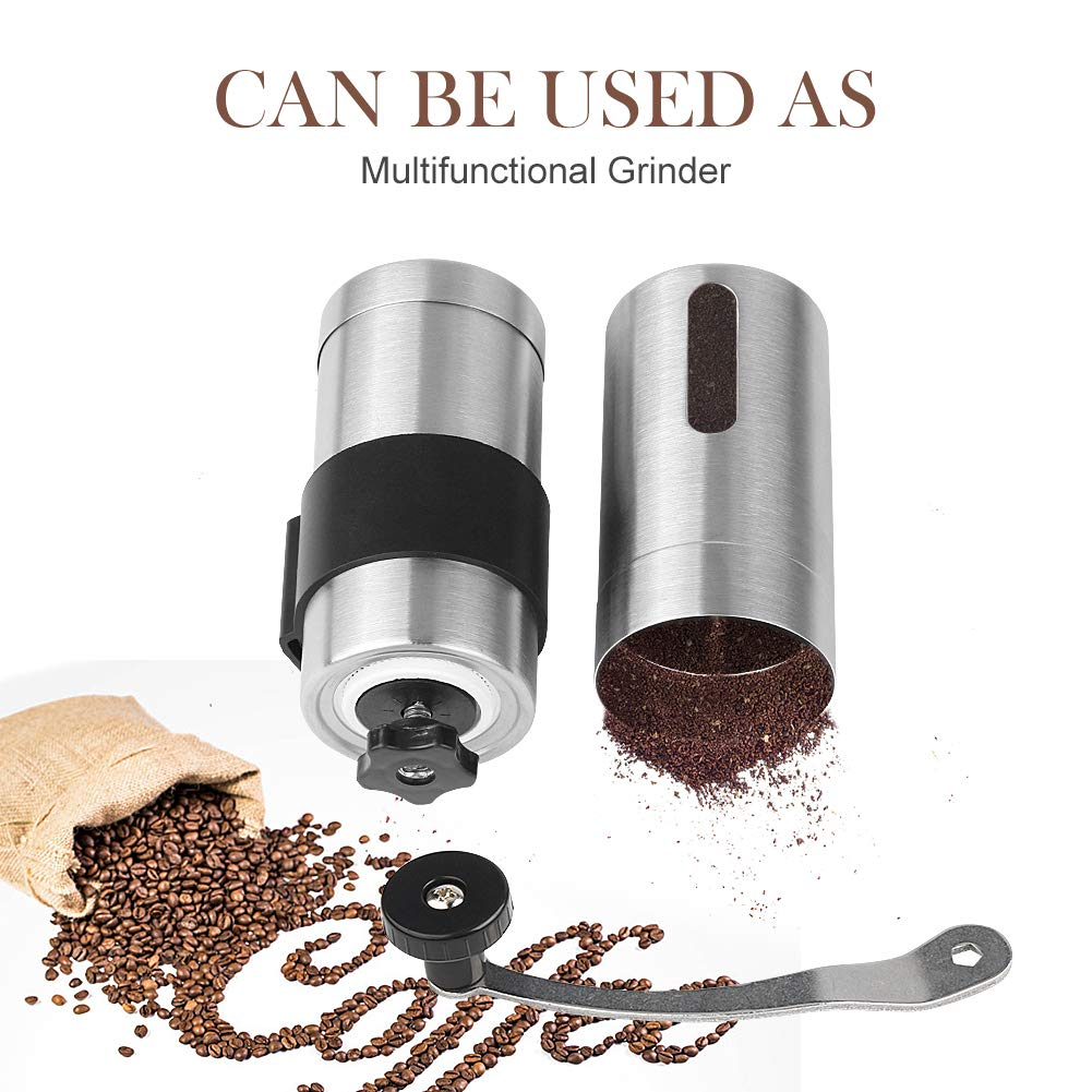 AVNICUD Manual Coffee Grinder Ceramic Burr Coffee Grinder with Adjustable Setting Portable Brushed