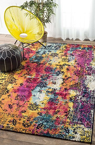Traditional Rug 4x6 Colorful Multi Area Rug Painting Canv...
