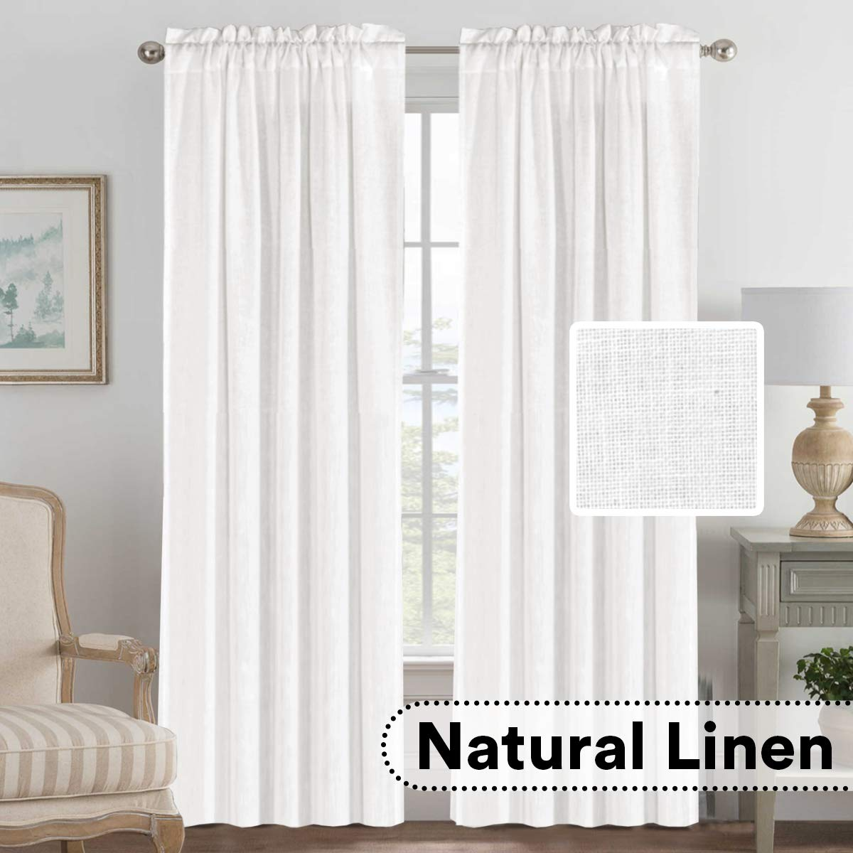 H.VERSAILTEX 52 - Inch Width by 96 - Inch Length Linen White Curtains Light Filtering Draperies for Living Room/Bedroom/Kids Room/Kitchen, Rod Pocket Window Panels -Set of 2, White by H.VERSAILTEX