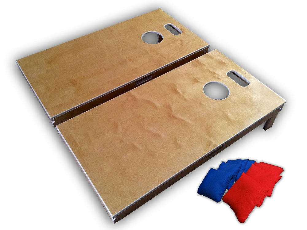Vorticy Bag Toss Long Board Regulation Size Cornhole Game Set (4ft x 2ft, The 5pt Slot - Blonde Finish)