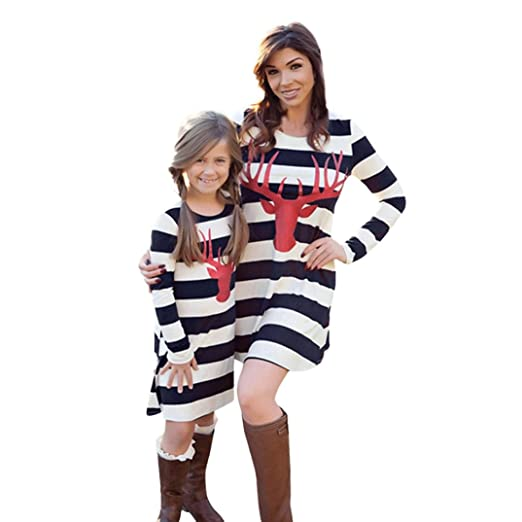 1670bf1155a Sunward Parent-Child Striped Deer Shirt Dress Mommy and Me Family Clothes  Matching Dress (