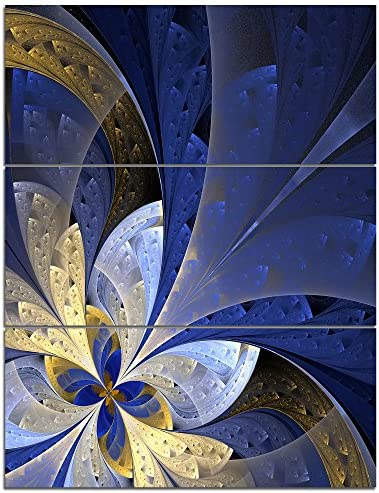 Designart Blue and Yellow Large Fractal Pattern-Modern Floral Canvas Wall Art-28X36 3 Piece