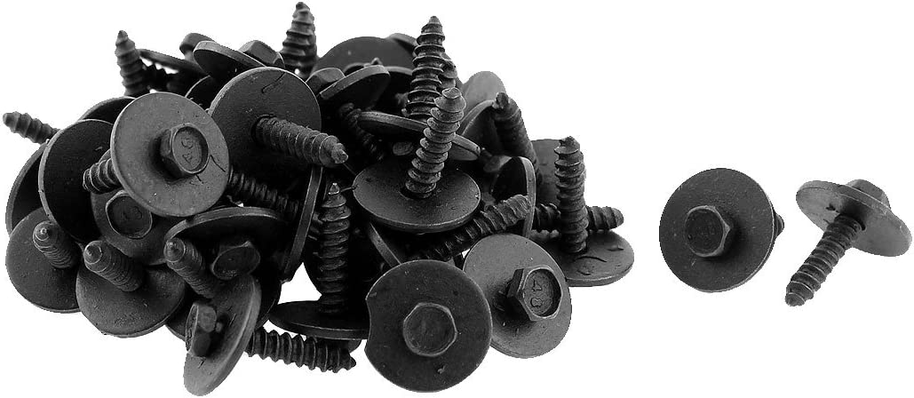 100PCS 4x22mm Car Screw Bolt Bumper Fender Moulding Clip Fastener Metal Washer