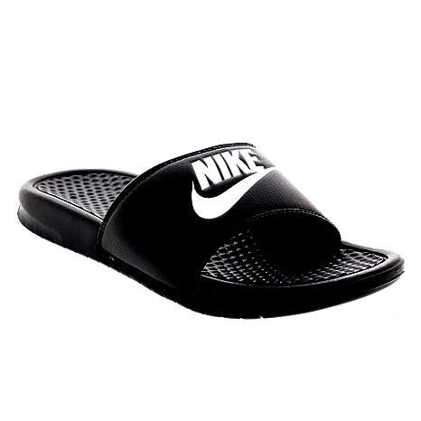 Mens Nike Benassi JDI Lightweight Slides Beach Holiday Sandals Summer - Black/White - 10