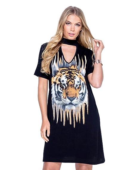 c79a2e12fe Ladies Tiger Print Choker Neck T-Shirt Dress US Size 6-12 (S M (US 6 ...
