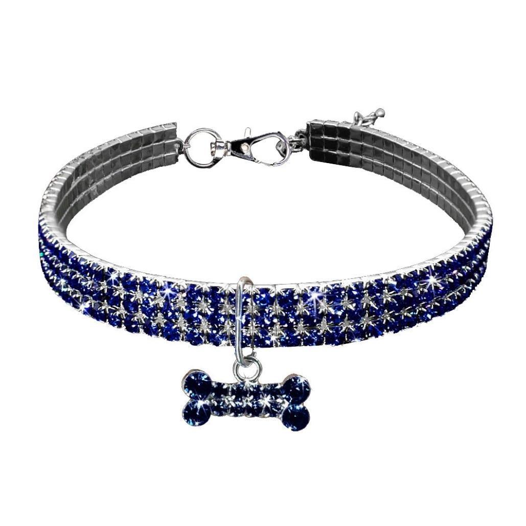 Celendi_Jewelry Cute Pet Necklace Artificial Rhinestone Necklace for Pet Dog (L, blue)