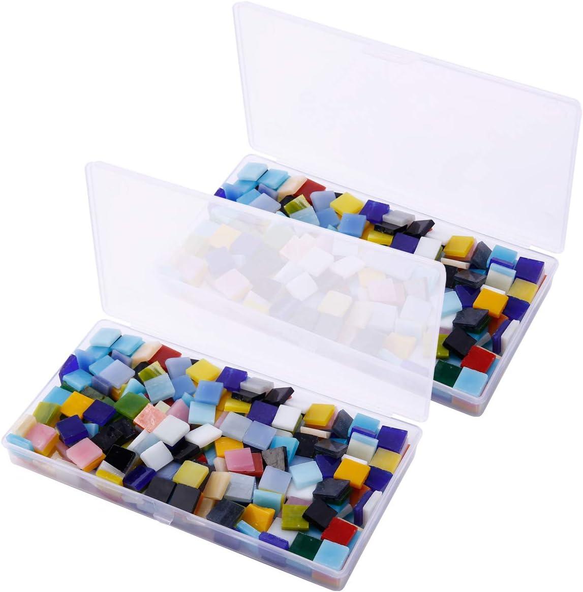 Anladia 11mm Mosaiksteine Mosaikfliesen Mosaik Raute Bunt gemischt Basteln DIY Deko ca 360 St mit Aufbewahrungsbox