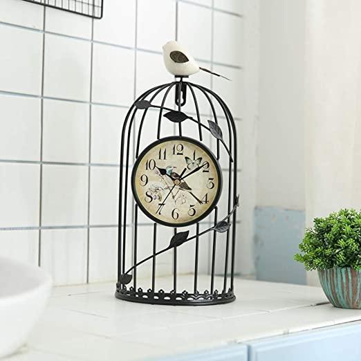 HY Reloj de Jaula de pájaros, silencioso Hierro Forjado Sala de ...