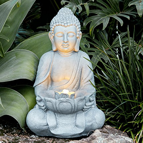 Simply Pour Water Into The Back Of The Fountain, Plug In To An Outdoor  Socket And Relax To The Sound Of Flowing Water Circulating From The Lotus  Flower To ...
