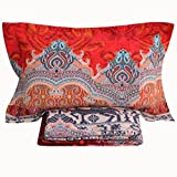 FADFAY Bohemian Style Bed Sheet Set Reindeer Print Fitted Sheet 4Pcs-King