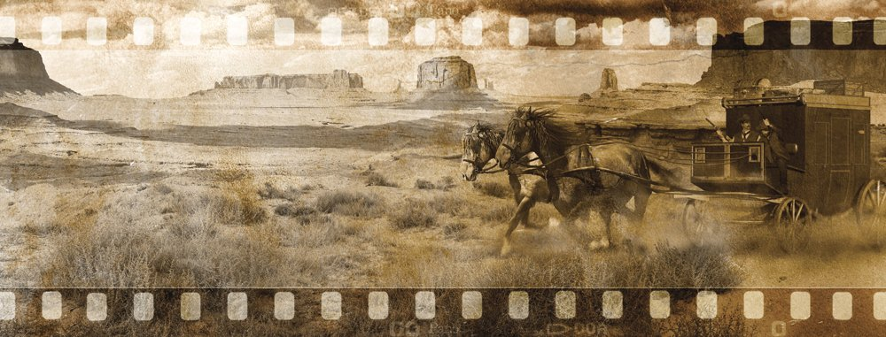 JP London WE5A073 10.5-Feet by 4-Feet high American Western Country Filmstrip Removable Panoramic Wall Mural by JP London