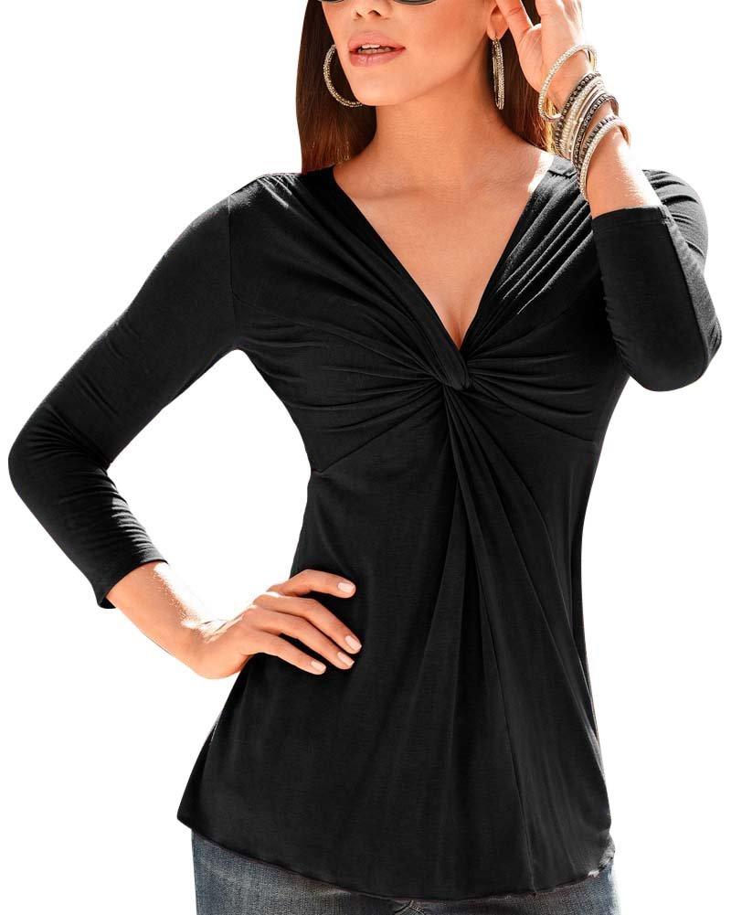 Donna Camicetta Maglia Maglietta Manica Lunga Casual Elegante V-Collo T-Shirt SaiDeng