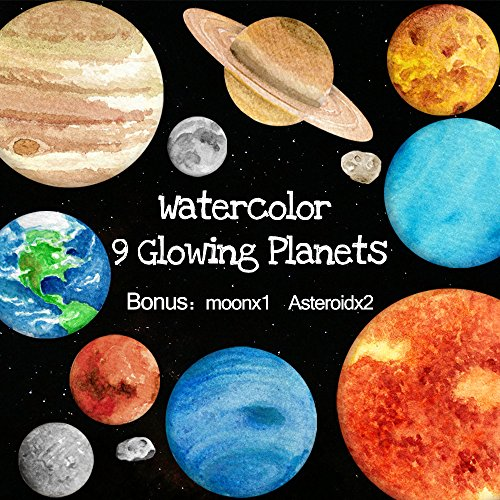 Amaonm 9pcs Watercolor Glow In the Dark Solar System Planet Wall Stickers + 2pcs Asteroid + 1pcs Moon Glowing Stickers Decals Decor for Kids Baby Girls and Boys Bedroom Ceiling Living Room Nursery by Amaonm