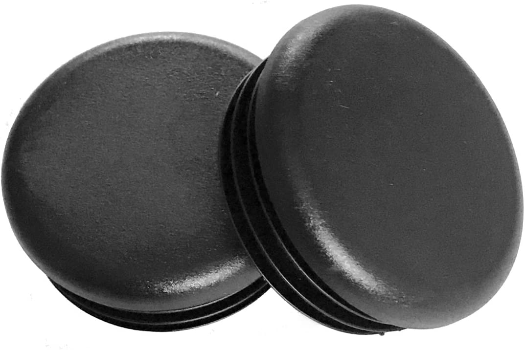"""(Pack of 10) 1"""" Round Black Plastic Tubing Plug, (14-20 Gauge 0.84"""" to 0.93"""" ID) 1 Inch End Caps - Steel Furniture Foot - Table Chair Legs Blanking. Pipe Tube Cover Insert. by SBD."""