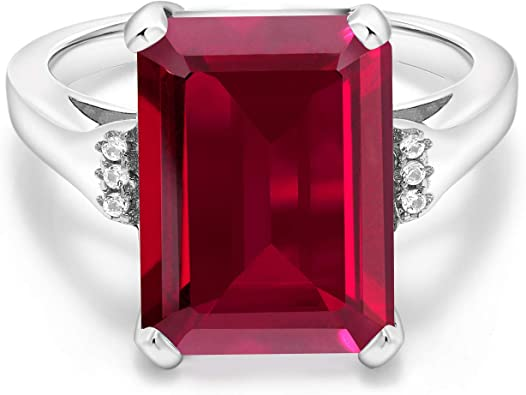 Sterling Silver Engagement Rings,Diamond Ring,925 Sterling Silver,Emerald and Ruby Ring With Diamonds Natural Emerald /& Ruby Ring