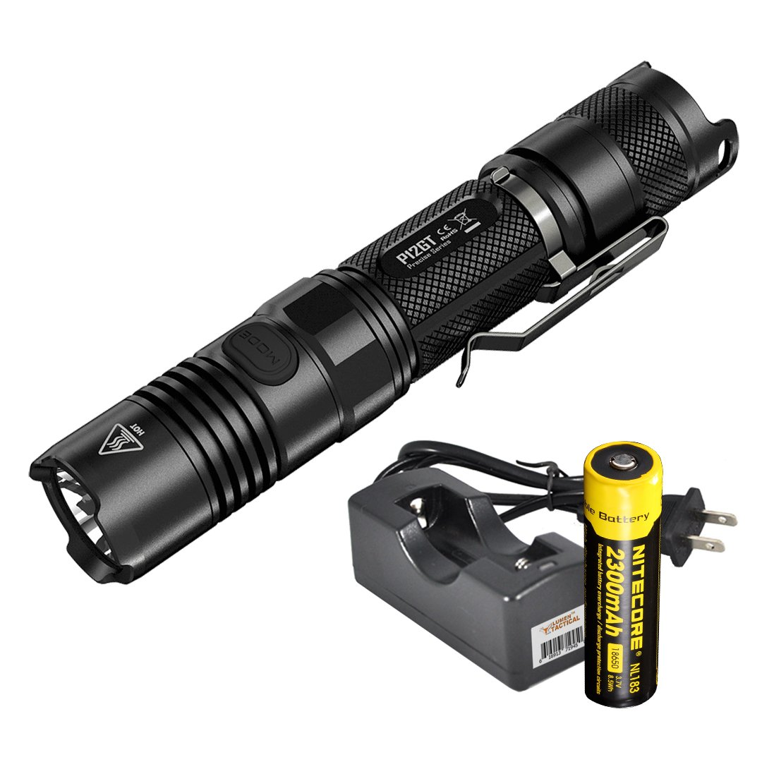 Nitecore P12GT 1000 Lumens Compact Tactical LED Flashlight, Rechargeable Battery, Lumentac Single Channel Charger