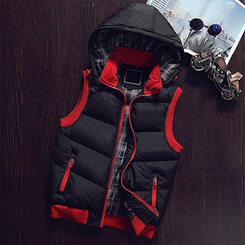 Outwear Jacket Waterproof Zipper Vest BOZEVON Down Black Sleeveless Hooded Winter Coat Hoodie Windproof Men's Down XPPROn0U