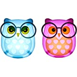 1 Pair LED Plug-in Night Light for Kids – Light Sensor Controlled Nightlights for Baby Nursing - Owl shaped Wall Lamp Take Good Care Children Sleep (Pink + Blue)