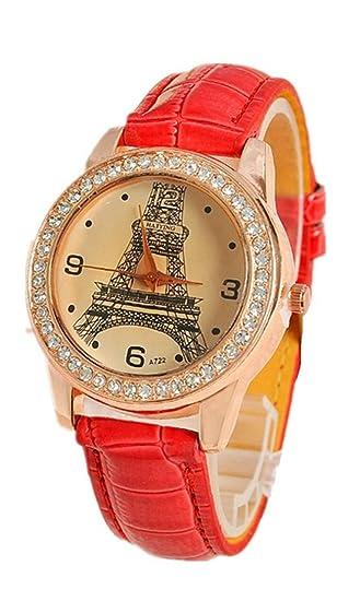 DAYAN Moda Mujeres torre Eiffel París Señoras Pulsera cuero Rhinestone mujeres relojes Color Rojo: Amazon.es: Relojes