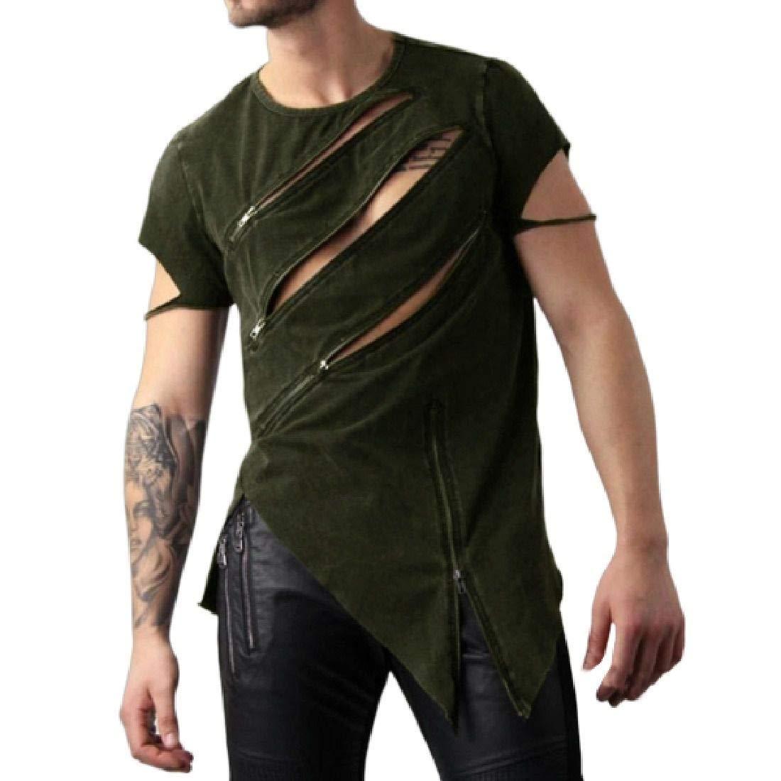 Zantt Mens Gothic Zipper Irregular Crewneck Casual Punk T-Shirts Tee