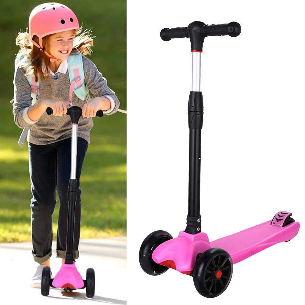 Mewalker Mini Kids Kick Scooter with LED Flashing Wheels, Adjustable 3 Wheels Push Scooter for Kids Children (US Stock)